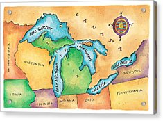 Map Of The Great Lakes Acrylic Print by Jennifer Thermes