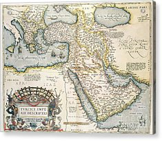 Map Of The Middle East From The Sixteenth Century Acrylic Print by Abraham Ortelius