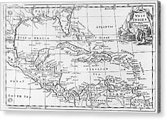 Map Of The West Indies Florida And South America Acrylic Print by English School