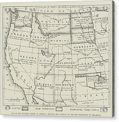 Map Of The Western States Of America Acrylic Print by English School