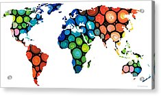 Map Of The World 1 -colorful Abstract Art Acrylic Print by Sharon Cummings