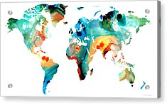 Map Of The World 11 -colorful Abstract Art Acrylic Print by Sharon Cummings
