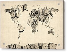 Map Of The World Map From Old Clocks Acrylic Print by Michael Tompsett