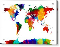 Map Of The World Map Painting Acrylic Print by Michael Tompsett
