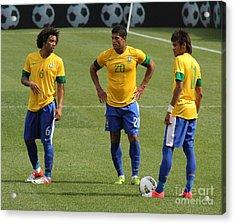 Marcelo Hulk And Neymar Acrylic Print by Lee Dos Santos