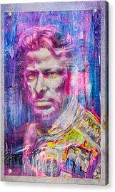 Marco Andretti Digitally Painted Portrait Acrylic Print by David Haskett