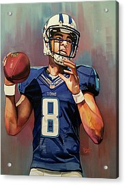 Marcus Mariota Rookie Year - Tennessee Titans Acrylic Print by Michael Pattison