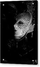 Mardi Gras Mask  B-w Acrylic Print by Christopher Holmes