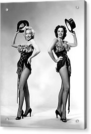 Marilyn Monroe And Jane Russell Acrylic Print by American School