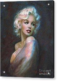 Marilyn Romantic Ww Dark Blue Acrylic Print by Theo Danella