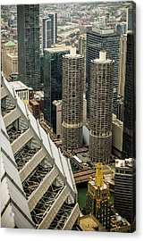 Marina Towers From Above Acrylic Print by Andrew Soundarajan