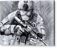 Marine Combat Acrylic Print by Sanket Kurude