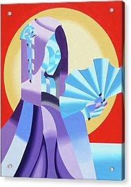 Mark Webster - Abstract Futurist Geisha Acrylic Print by Mark Webster