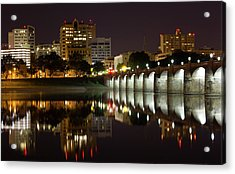 Market Street Bridge Reflections Acrylic Print by Shelley Neff