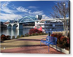 Market Street Bridge With The Delta Queen From Coolidge Park Acrylic Print by Tom and Pat Cory