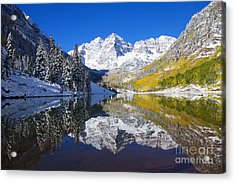Maroon Lake And Bells 1 Acrylic Print by Ron Dahlquist - Printscapes