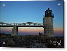 Marshall Point Lighthouse With Full Moon Acrylic Print by Diane Diederich