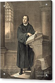Martin Luther In His Study Acrylic Print by American School