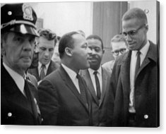 Martin Luther King Jnr And Malcolm X Acrylic Print by American School