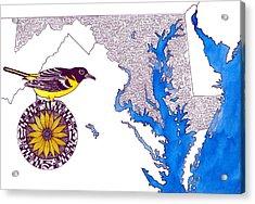 Maryland Word Map Acrylic Print by Terri Kelleher