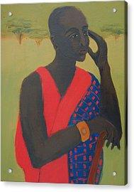 Masaii Warrior Acrylic Print by Renee Kahn