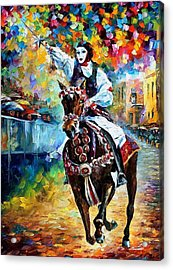 Masked Horseman - Palette Knife Oil Painting On Canvas By Leonid Afremov Acrylic Print by Leonid Afremov
