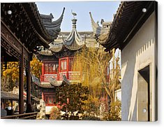 Massive Upturned Eaves - Yuyuan Garden Shanghai China Acrylic Print by Christine Till