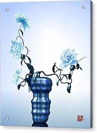 Math Flowers In Blue 1 Acrylic Print by GuoJun Pan