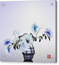 Math Flowers In Blue 2 Acrylic Print by GuoJun Pan