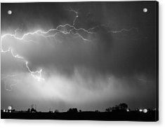 May Showers 2 In Bw - Lightning Thunderstorm 5-10-2011 Boulder C Acrylic Print by James BO  Insogna