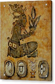 Mayan Corn God Acrylic Print by Mary jane Miller