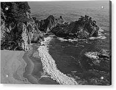 Mcway Cove Waterfall Black And White Acrylic Print by Garry Gay