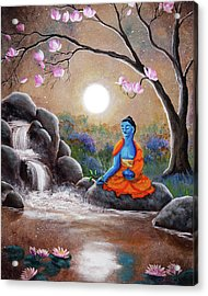 Medicine Buddha By A Waterfall Acrylic Print by Laura Iverson