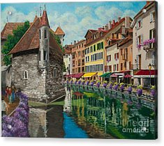 Medieval Jail In Annecy Acrylic Print by Charlotte Blanchard