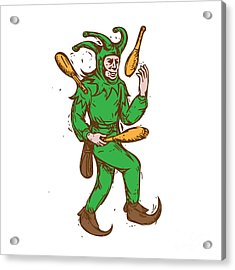 Medieval Jester Juggling Wooden Pins Drawing Acrylic Print by Aloysius Patrimonio