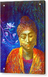 Meeting With Buddha Acrylic Print by Jane Small