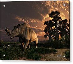 Megacerops At Breakfast Acrylic Print by Daniel Eskridge