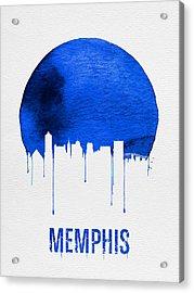 Memphis Skyline Blue Acrylic Print by Naxart Studio
