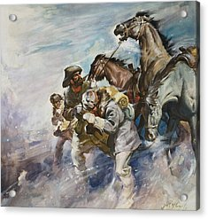Men And Horses Battling A Storm Acrylic Print by James Edwin McConnell