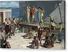 Men Bid On Women At A Slave Market Acrylic Print by H.M. Herget