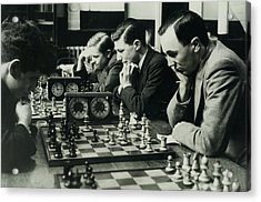 Men Concentrate On Chess Matches, 1940s Acrylic Print by Archive Holdings Inc.