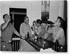 Men Drinking Beer At The Bar Acrylic Print by Everett