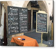 Menu Boards In A Square Of Avenue Acrylic Print by Panoramic Images