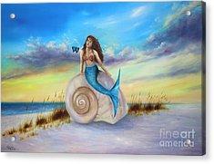 Mermaid At The Beach Acrylic Print by Gabriela Valencia