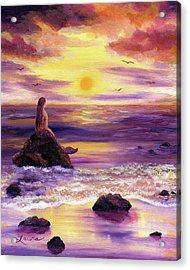 Mermaid In Purple Sunset Acrylic Print by Laura Iverson