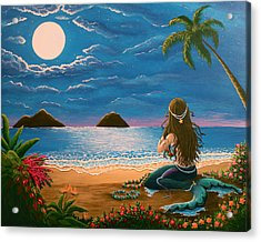 Mermaid Making Leis Acrylic Print by Gale Taylor