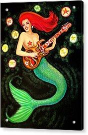 Mermaids Rock Tiki Guitar Acrylic Print by Sue Halstenberg