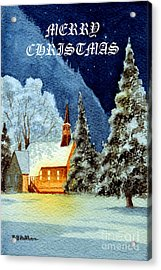 Merry Christmas Card Yosemite Valley Chapel Acrylic Print by Bill Holkham