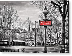 Metro Pont Marie Acrylic Print by Delphimages Photo Creations