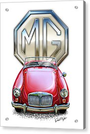 Mga Sports Car In Red Acrylic Print by David Kyte